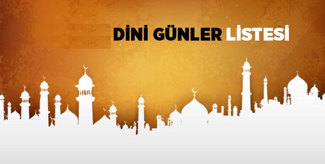 2013 Yılı Dini Günler Listesi